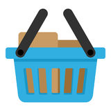 Blue Full Basket with Two Handles Flat Icon Royalty Free Stock Photography