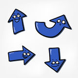 Blue funny arrows Royalty Free Stock Image