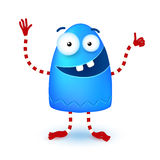 Blue funny cute little smiling monster Royalty Free Stock Images