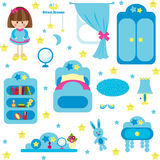 Blue furniture set for girl Stock Images