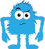 Blue furry monster upset face. Cartoon blue hairy creature angry expression Royalty Free Stock Photography