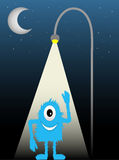 Blue Furry One Eyed Creature Street Lamp Waving. Under Quarter Moon and starry sky, illuminated by street light waves  illustration Stock Images
