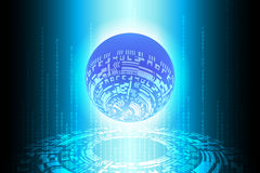Blue Future Binary Globe Technology Background Royalty Free Stock Photography