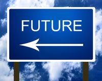 A blue future direction road street sign Stock Images