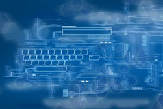 Blue Future Interface. Background with keyboard and data area Royalty Free Stock Images