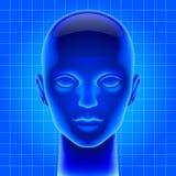 Blue futuristic artificial head Stock Photo