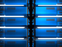 Blue futuristic constructions. With bright white lights Royalty Free Stock Images