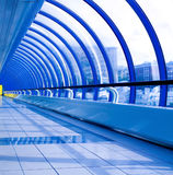 Blue futuristic corridor. In airport Royalty Free Stock Photos
