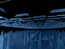 Blue futuristic fantasy constructions. In black background Stock Photography