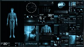 Blue futuristic patient monitor screen in perspective / Medical screen interface
