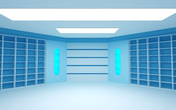 Blue futuristic room Royalty Free Stock Images