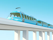 Blue futuristic train on the bridge Stock Image
