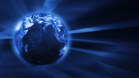 Blue FX Background with rotating Earth globe,seamless loop, stock footage stock video footage