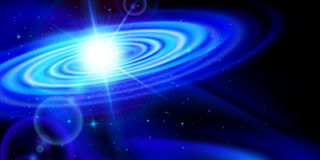 Blue galaxy. Space background. Blue galaxy with bright flash among stars in dark universe Stock Photography