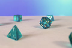 Blue game dice d20 Stock Photos