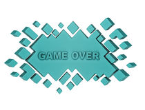 Blue game over geometric background from cubes. 3d render Stock Photos