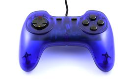 Blue gamepad. Blue game-pad isolated on white background - close-up view Royalty Free Stock Image