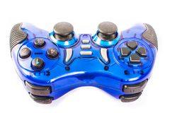 Blue gamepad on white background. Blue gamepad without perforated on white background isolate Stock Image