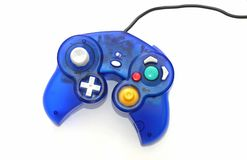 Blue Gaming Joypad. Colorful joypad and lead over white Stock Image
