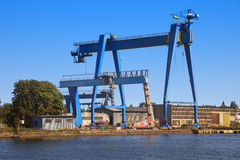 Blue gantry crane Royalty Free Stock Photos