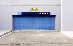 Blue garage door Stock Photos