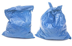 Blue garbage bags Stock Photography