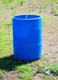 Blue garbage barrel Royalty Free Stock Images