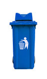 Blue garbage bin Royalty Free Stock Images