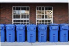 Blue garbage bins Royalty Free Stock Photos