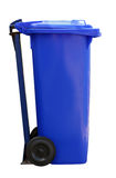 Blue garbage can Stock Images