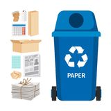 Blue garbage can with paper elements. Blue garbage can with paper trash elements, vector illustration Royalty Free Stock Photo
