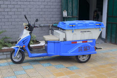 Blue garbage sidecar Royalty Free Stock Photos