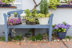 Blue garden bench Royalty Free Stock Photo