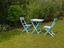 Blue garden furniture Stock Images