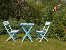 Blue garden furniture set Stock Images