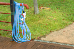 Blue garden hose Stock Photo