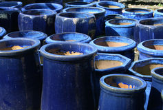 Blue garden pots 2. A collection of large, blue, ceramic garden pots Stock Images