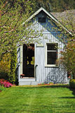 Blue garden shed royalty free stock photography