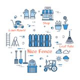 06 Blue GARDENING - Nice Fence royalty free illustration
