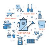 06 Blue GARDENING - Watering can for irrigation. Vector linear blue round concept of Watering can for irrigation. Thin line icons of tools and accessories of the stock illustration