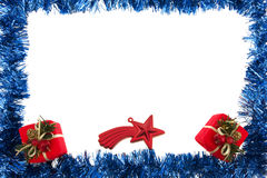 Blue Garland Frame. With gifts and star isolated on white Stock Photography