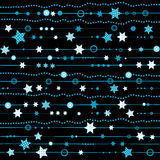 Blue garland with stars and dots over black background Stock Photo