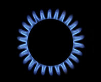 Blue gas flame. Kitchen blue gas flame, view from above Royalty Free Stock Image