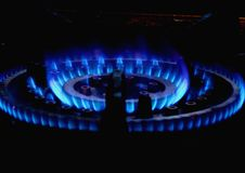Blue gas flame on the hob Royalty Free Stock Image