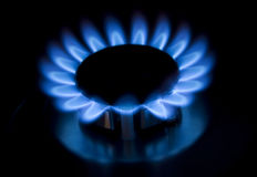 Blue gas flames Stock Photos