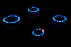 Blue gas flames Royalty Free Stock Photography