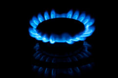 Blue gas flames Stock Images