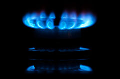 Blue gas flames Royalty Free Stock Images