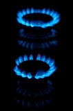 Blue gas flames Royalty Free Stock Photos