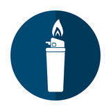 Blue gas lighter flame icon shadow Stock Photography